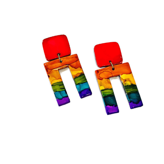 Rainbow Pride Earrings, Big Bold Chunky - Sassy Sacha Jewelry