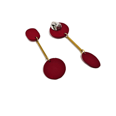 Long Red Clip On Earrings with Brass Bar