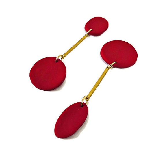 Modern Red Bar Earrings
