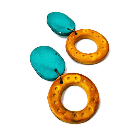 Colorful Jewelry Set, Geometric Necklace with Statement Earrings, Polymer Clay Painted with Alcohol, Big Bold Chunky Multicolored - Sassy Sacha Jewelry