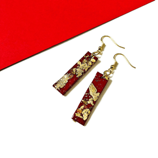 Red Bar Earrings with Mixed Metal Flakes
