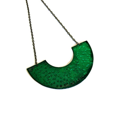 Forest Green Necklace Handmade from Polymer Clay & Hand Painted