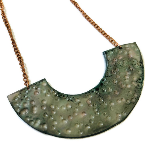 Mint Green Statement Necklace Handmade from Clay & Painted.