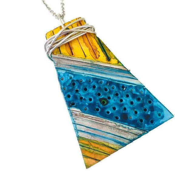 Colorful Pendant Necklace Handmade from Polymer Clay and Painted - Sassy Sacha Jewelry