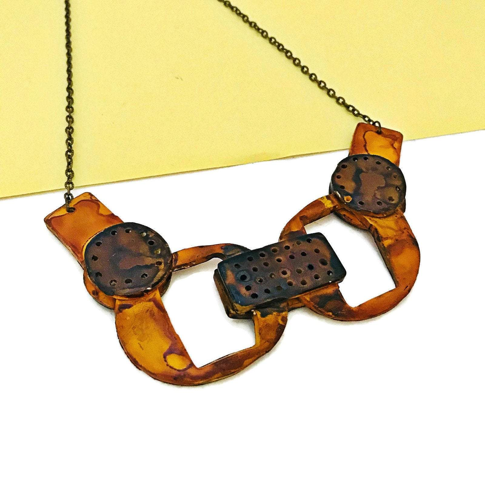 Geometric Statement Jewelry Set with Bib Necklace & Chunky Disc Earrings - Sassy Sacha Jewelry