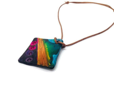 Colorful Polymer Clay Pendant, Abstract Geometric Design - Sassy Sacha Jewelry
