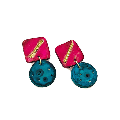 Polymer Clay Earrings Turquoise & Pink. Hand Painted - Sassy Sacha Jewelry