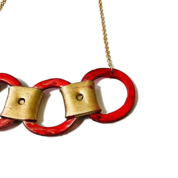 Red and Gold Linked Circle Necklace Handmade from Polymer Clay & Painted with Alcohol Ink - Sassy Sacha Jewelry