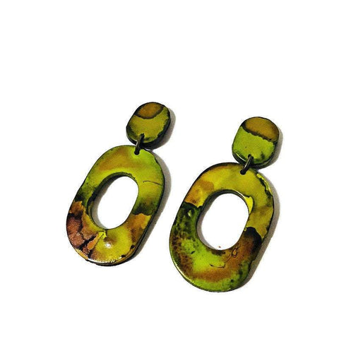 Large Statement Earrings in Chartreuse Green & Brown - Sassy Sacha Jewelry
