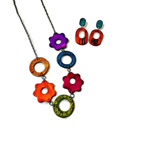 Multi Color Necklace with Matching Statement Earrings - Sassy Sacha Jewelry