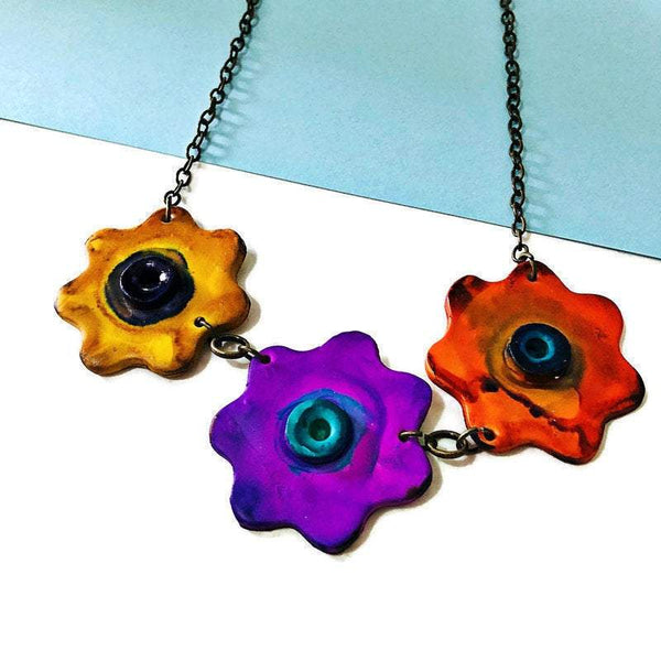 Clay Flower Necklace Handmade Polymer Clay Jewelry in Purple, Yellow & Orange - Sassy Sacha Jewelry