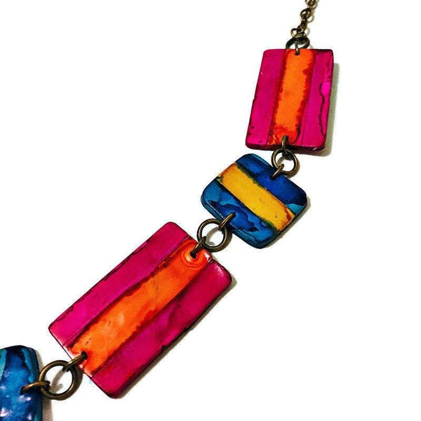 Multicolored Jewelry Set with Matching Statement Earrings & Painted Funky Necklace Burnt Orange - Sassy Sacha Jewelry