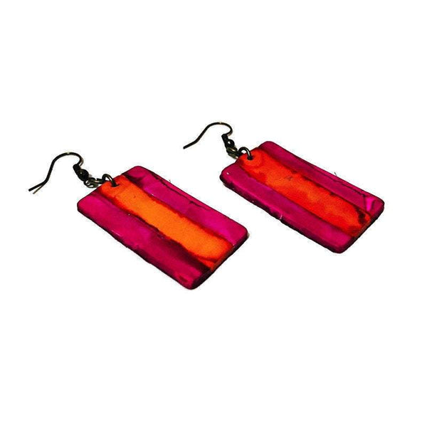 Hot Pink Earrings with Burnt Orange Stripe - Sassy Sacha Jewelry