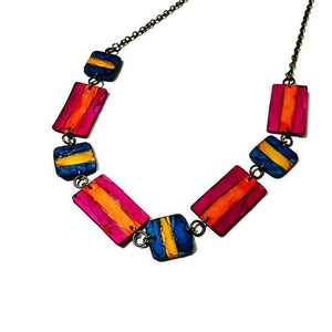 Multicolored Jewelry Set with Beaded Necklace & Dangle Earrings - Sassy Sacha Jewelry