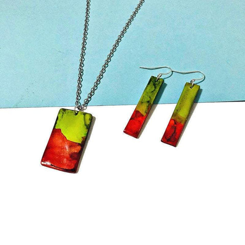 Orange & Chartreuse Jewelry Set - Sassy Sacha Jewelry