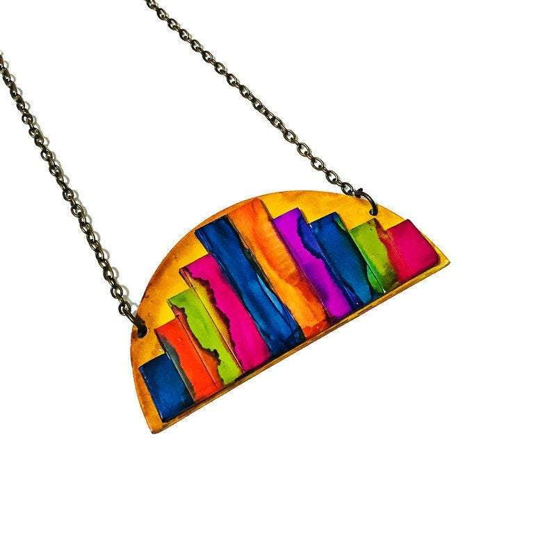 Abstract Cityscape Statement Necklace - Sassy Sacha Jewelry