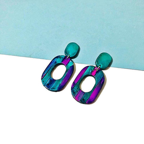 Clay Statement Earrings Painted with Turquoise & Purple Alcohol Ink - Sassy Sacha Jewelry