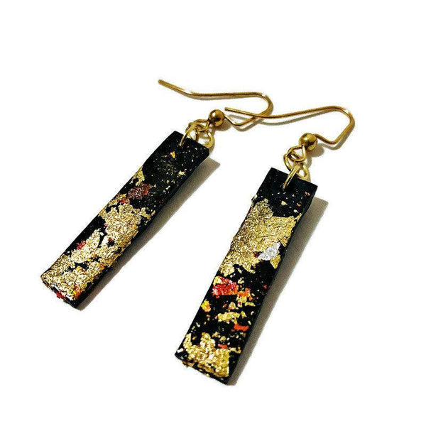 Bar Earrings Black with Gold Flakes - Sassy Sacha Jewelry