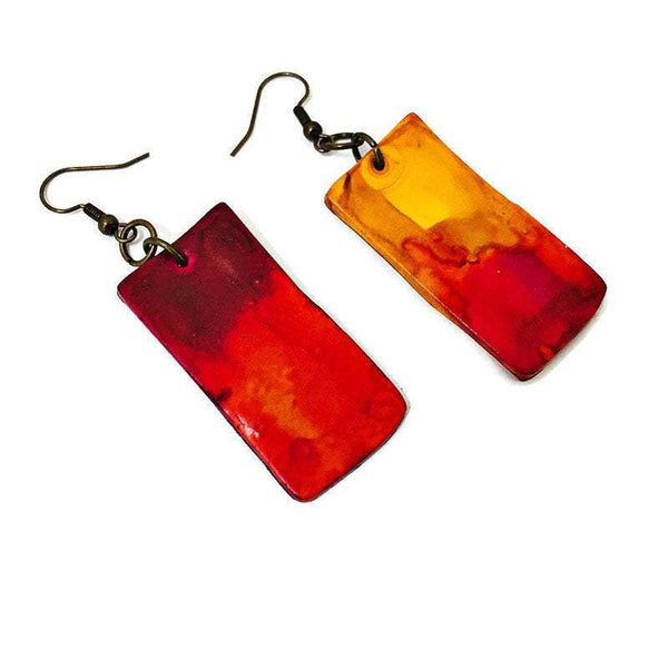 Ombré Statement Jewelry Set, Handmade from Clay & Painted with Alcohol Ink - Sassy Sacha Jewelry
