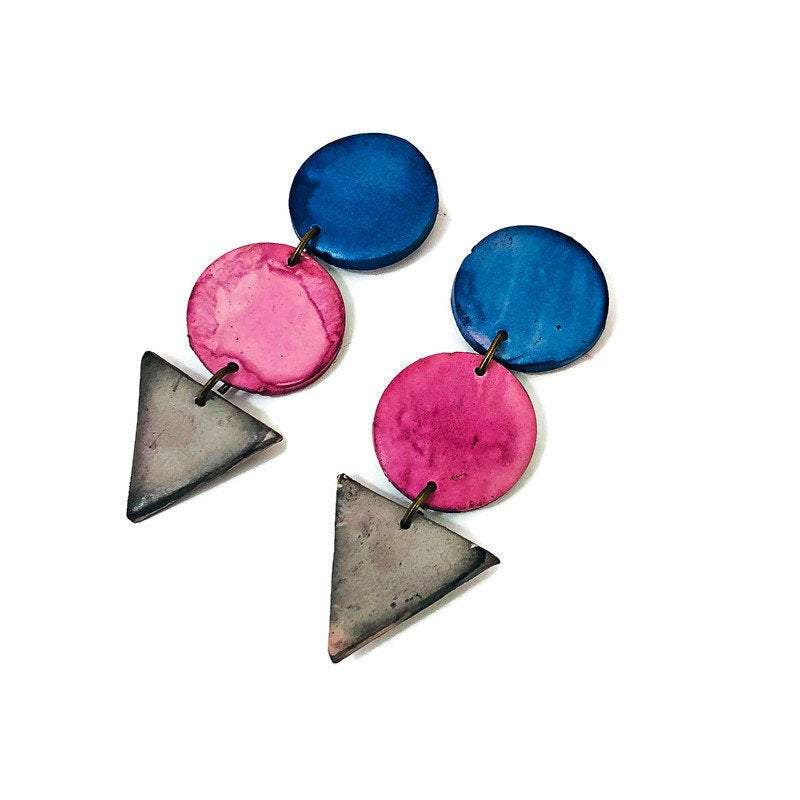 Long Geometric Statement Earrings - Sassy Sacha Jewelry