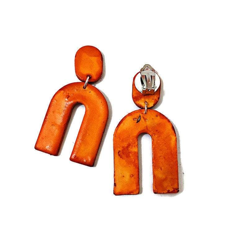 Burnt Orange Statement Earrings Handmade from Polymer Clay Painted with Alcohol Ink - Sassy Sacha Jewelry