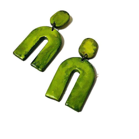 Chartreuse Green Statement Earrings, Polymer Clay Earrings - Sassy Sacha Jewelry
