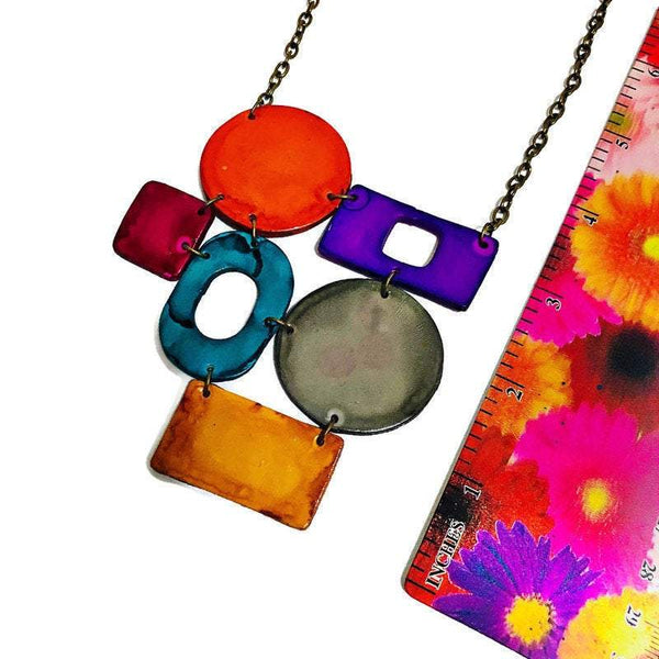 Colorful Geometric Bib Necklace & Statement Earrings - Sassy Sacha Jewelry