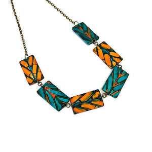 Geometric Necklace & Statement Earrings in Teal & Burnt Orange. - Sassy Sacha Jewelry