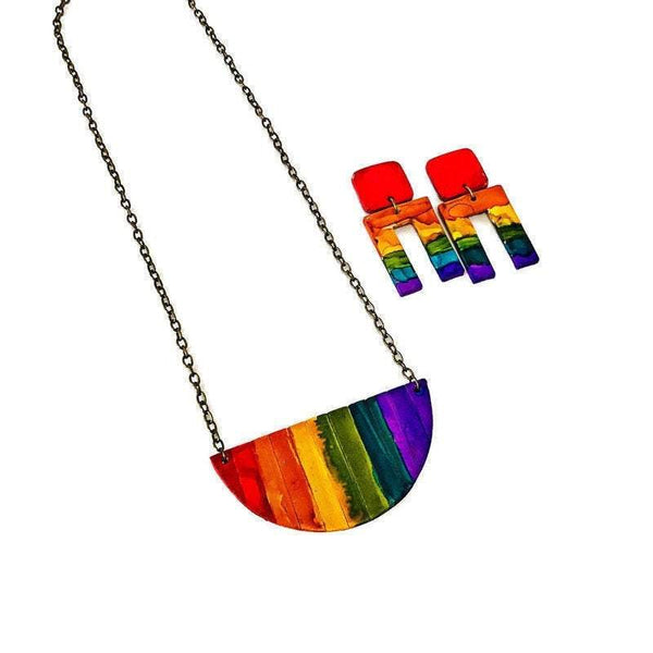 Rainbow Jewelry Set with Bib Necklace & Statement Earrings - Sassy Sacha Jewelry