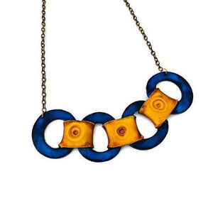 Chunky Statement Necklace with Navy Blue Circles & Mustard Yellow Rectangle Links - Sassy Sacha Jewelry