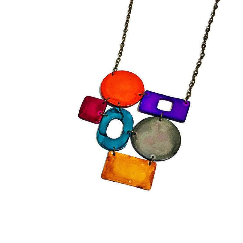 Colorful Statement Necklace with Geometric Style - Sassy Sacha Jewelry