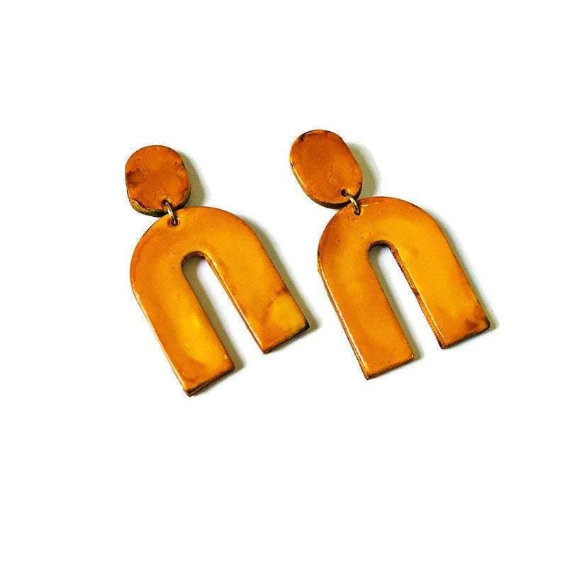 Mustard Yellow Arch Statement Earrings