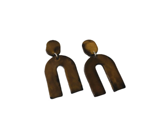 Brown Arch Statement Earrings, Modern Geometric Jewelry