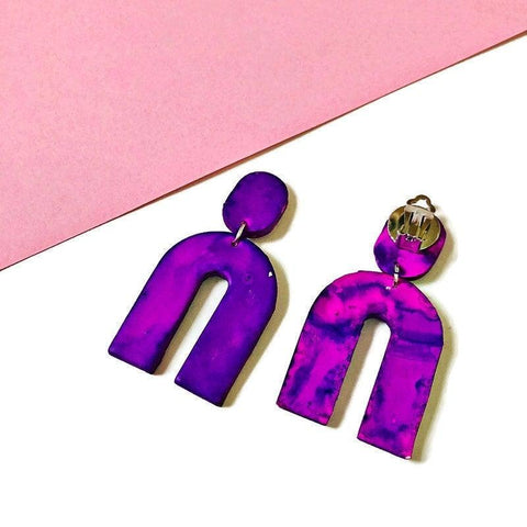 Purple Arch Clip On Earrings Handmade from Polymer Clay Painted with Alcohol Ink