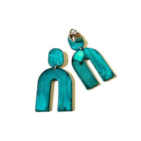 Turquoise Arch Statement Clip On Earrings