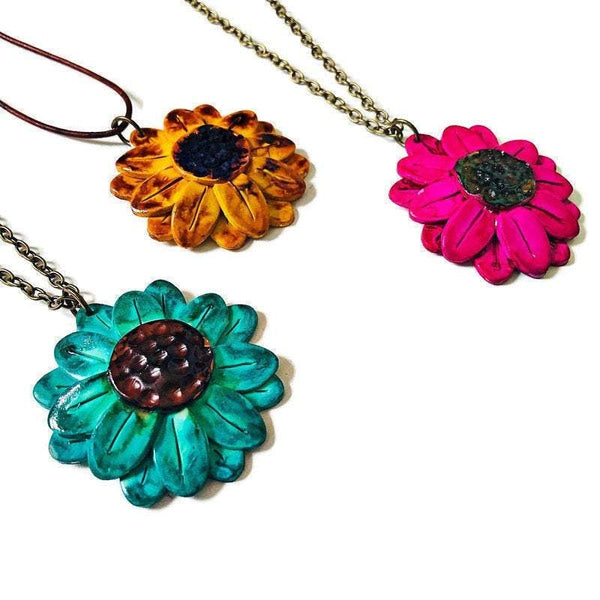 Clay Flower Necklace, Polymer Clay Pendant Hand Painted, Big Bold Chunky Jewelry, Alcohol Ink Jewelry, Sunflower Necklace Turquoise - Sassy Sacha Jewelry