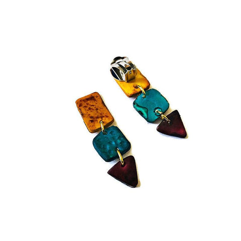 Clip On Statement Earrings in Blue, Maroon and Mustard Yellow - Sassy Sacha Jewelry
