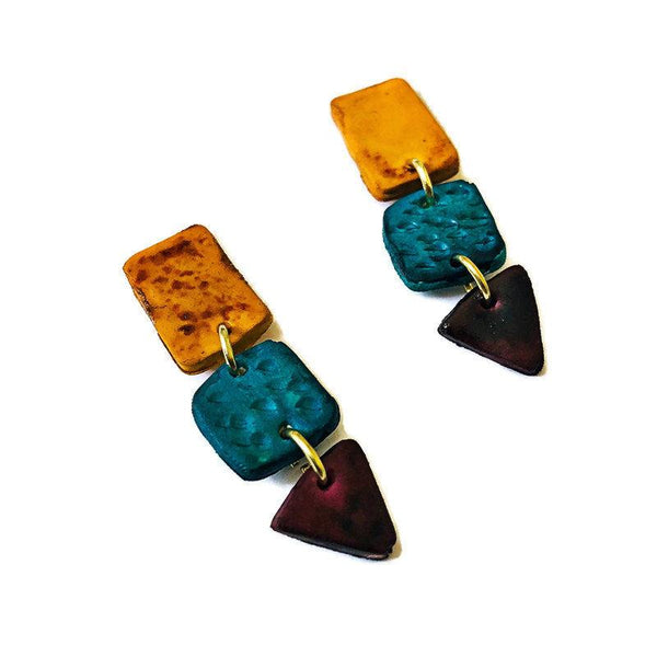 Long Statement Earrings in Blue, Maroon and Mustard Yellow - Sassy Sacha Jewelry