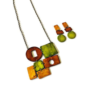 Fall Jewelry Set with Bold Chunky Statement Necklace & Long Geometric Earrings - Sassy Sacha Jewelry