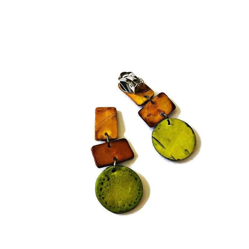 Fall Statement Necklace Handmade Polymer Clay Jewelry Painted with Alcohol Ink. Big Bold Chunky Geometric Necklace Chartreuse Brown & Yellow - Sassy Sacha Jewelry