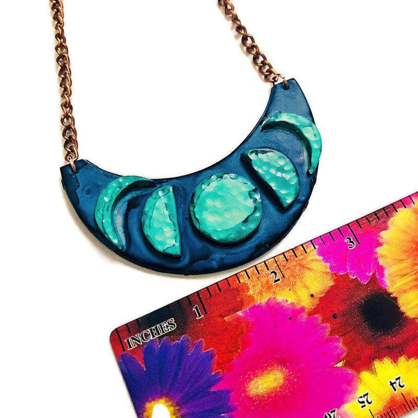 Moon Phase Statement Necklace, Celestial Jewelry Handmade from Polymer Clay & Painted with Alcohol Ink, Dark Blue Turquoise Choker, Gift Her - Sassy Sacha Jewelry