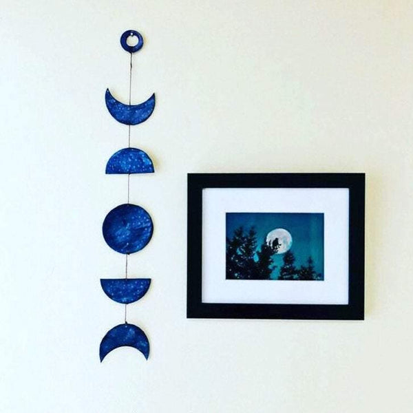1.8 ft Moon Phase Wall Hanging Handmade Long Clay Lunar phases