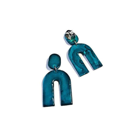 Denim Blue Arch Clip On Earrings