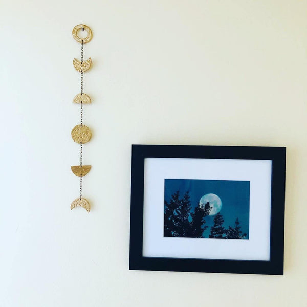 Gold Moon Phase Wall Hanging, Hammered Textured Clay Lunar Décor