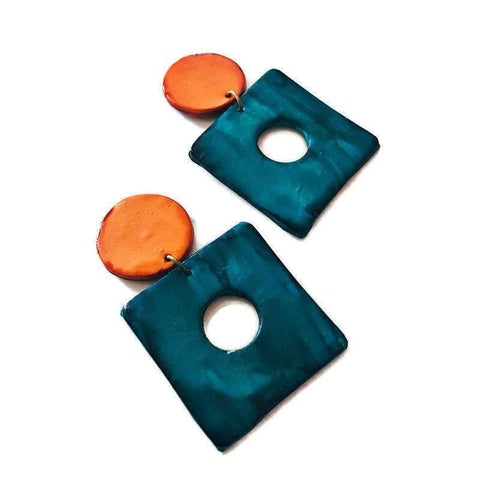 Big Statement Earrings in Teal & Orange, Square Hoop Drop Dangles