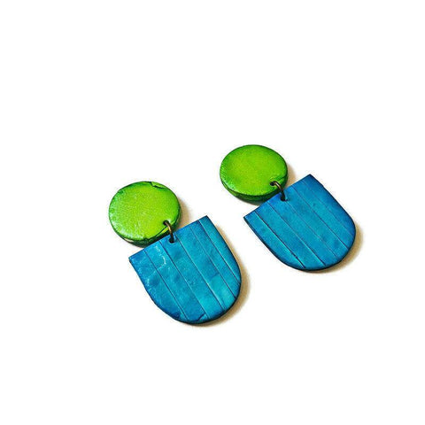 Bright Blue & Green Clay Statement Earrings
