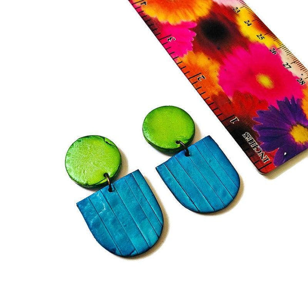 Yellow & Turquoise Clay Statement Earrings