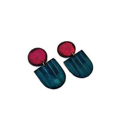 Fan Shaped Statement Earrings in Blue & Maroon Hand Painted with Alcohol Ink