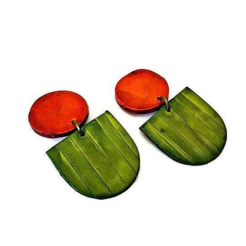 Fan Drop Dangle Earrings in Burnt Orange & Olive Green