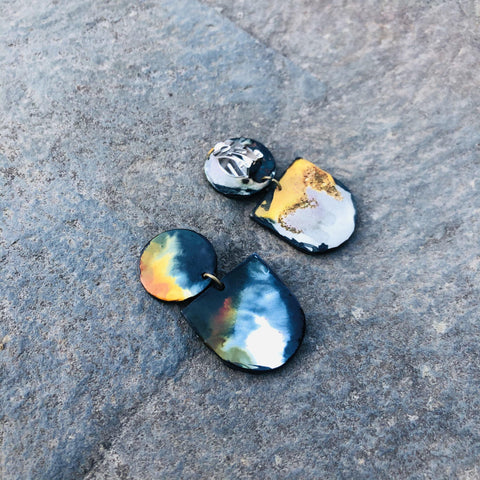 Abstract Clip On Earrings for Non Pierced Ears in Black White Orange Marble Blend
